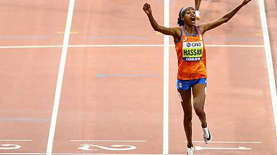 Hassan wins 1,500 metres to complete unique double
