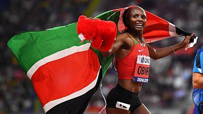 Kenya's Obiri defends 5,000m world title