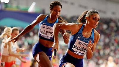 U.S. storm to gold in women's 4x400m relay