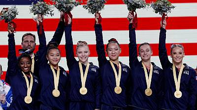 U.S. women romp to fifth straight world title, Biles rewrites history