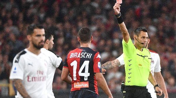 Serie A:otto squalificati, tre del Genoa
