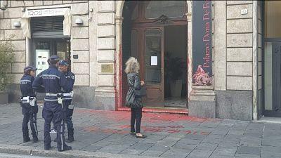 A Genova imbrattata sede consolato turco