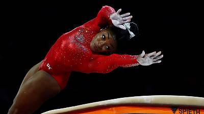 American Biles wins vault gold to tie worlds medal record