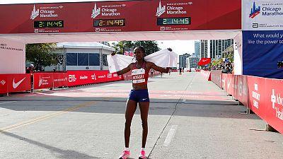 Kosgei shatters world marathon record, Cherono wins men's race