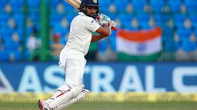 Rohit century, Rahane fifty steady India after early wobble