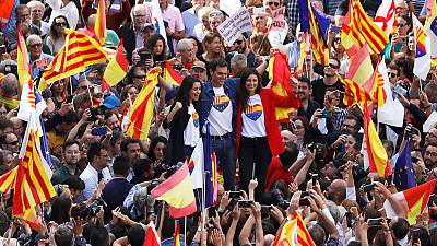 Anti-separatists rally in Barcelona after pro-independence unrest