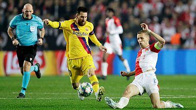 Messi leads Barca past Slavia Prague 2-1 in Champions League