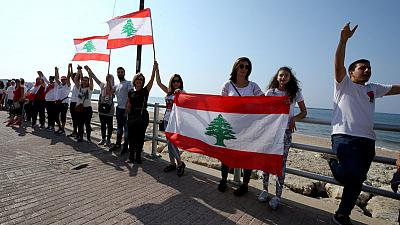 Lebanese protesters form human chain across country