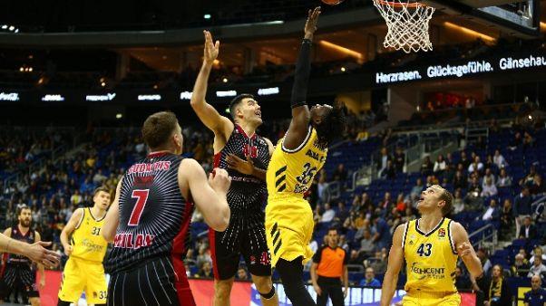 Eurolega basket: Berlino-Ax Milano 78-81