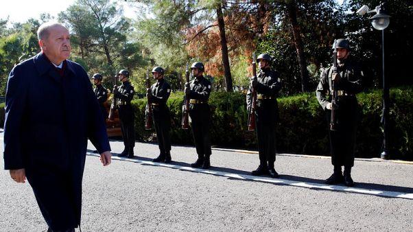 "Erdogan says Kurdish fighters have not left Syria 'safe zone"" despite U.S, Russia deals"