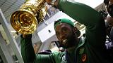 King Kolisi revels in support as thousands welcome Boks home