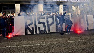 Striscione ultrà Napoli contro squadra