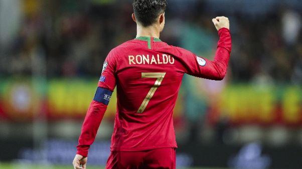 Ronaldo, gioia social per 6-0 Portogallo