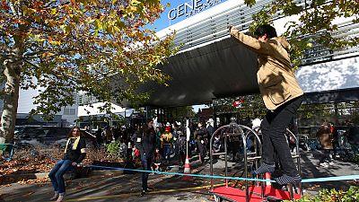 Climate activists block Geneva airport's private-jet terminal