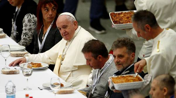 Guess who's coming to lunch? Pope hosts meal for 1,500 needy people
