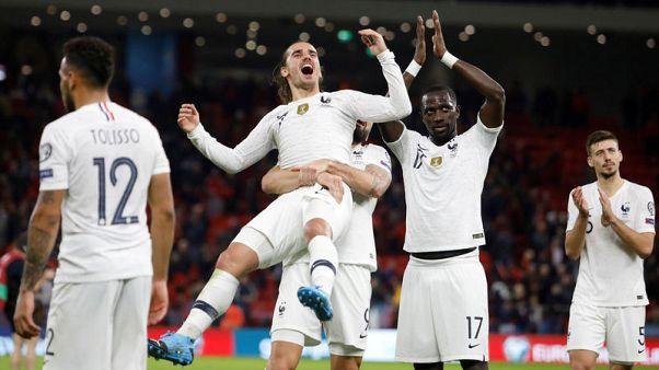 France celebrate 2-0 win in Albania's new stadium