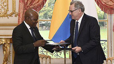 M. Faustin Boukoubi, Président de l'Assemblée nationale de la République gabonaise reçu par Richard Ferrand, son homologue français