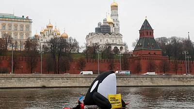 Russia detains activists after giant blow-up whale protest near Kremlin