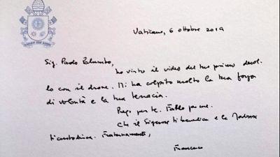 Il Papa scrive a giovane malato di Sla