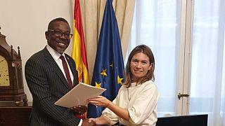 H.E Richard A. Opembe, Ambassador-Designate Presents an Open Copy of His Credentials