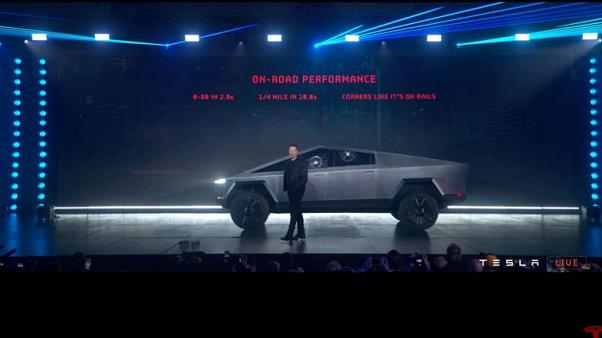 Tesla's electric pickup truck flouts convention with angular design and armoured glass