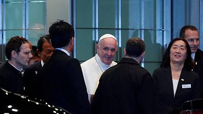 Pope Francis arrives in Japan to promote anti-nuclear message