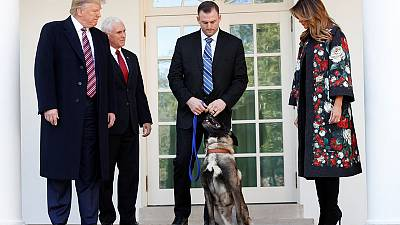 Trump welcomes dog who helped catch Islamic State leader to White House