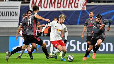 Forsberg double sends Leipzig into knockout stage