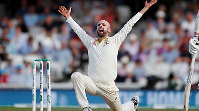 Australia five wickets from victory after Lyon strikes