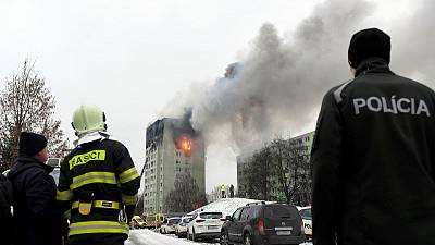 Gas explosion kills at least three in Slovakia, people trapped by fire