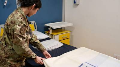 Preparativi all'ospedale militare Baggio