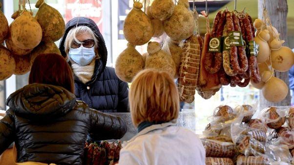 Nei mercatini,mascherini e pochi clienti