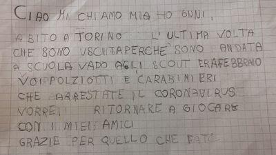 Bimba di 6 anni scrive alla polizia,arrestate il coronavirus