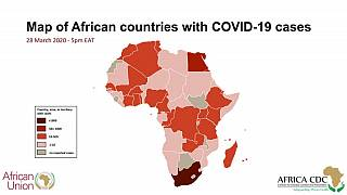 Map of African countries with COVID-19 cases (28 March 2020 - 5pm EAT)