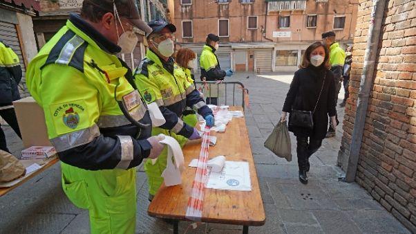 Coronavirus: Venezia, transenne mercato