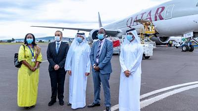 Coronavirus - Rwanda: Minister Dr Daniel Ngamije  received 15 tons of medical supplies donated by the Emir of Qatar