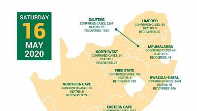 Coronavirus - South Africa: COVID-19 statistics in South Africa (16 May 2020)