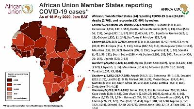 Coronavirus: African Union Member States reporting COVID-19 cases As of 18 May 2020, 9am EAT