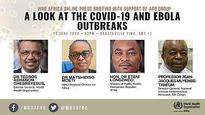 Point de presse en ligne de l'OMS Afrique aujourd'hui à 12:00 (Heure de Brazzaville/Kinshasa): Les flambées de COVID-19 et d'Ebola ; Posez vos questions au Directeur Général de l'OMS et au Directeur Régional pour l'Afrique