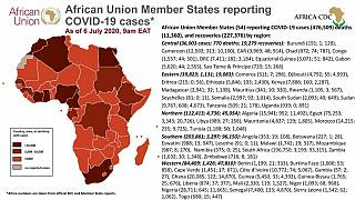 Coronavirus: African Union Member States (54) reporting COVID-19 cases as of 6 july 2020 9am EAT