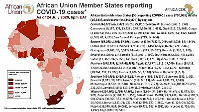 Coronavirus: African Union Member States (55) reporting COVID-19 cases as of 24 July 6 pm EAT
