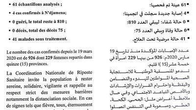 Coronavirus - Tchad : Communique - La situation épidémiologique du COVID-19 au Tchad du 28 juillet 2020