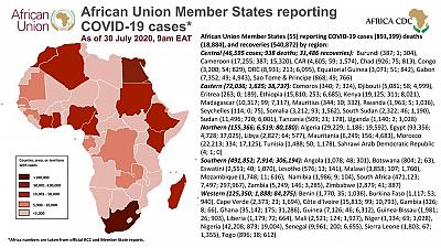 Coronavirus: African Union Member States reporting COVID-19 cases as of 30th July 2020 9am EAT