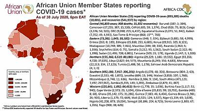 African Union Member States reporting COVID-19 cases as of 30 July 2020, 6 pm EAT