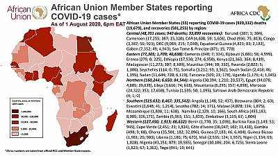 Coronavirus: African Union Member States reporting COVID-19 cases as of 1 August 2020, 6 pm EAT