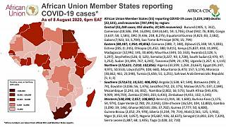 Coronavirus: African Union Member States reporting COVID-19 cases as of 8 August 6 pm EAT
