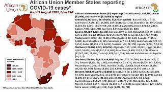 Coronavirus: African Union Member States reporting COVID-19 cases as of 9 August 2020, 6 pm EAT