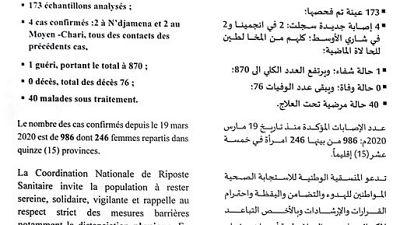Coronavirus - Tchad : Communique - la situation épidémiologique du covid-19 au Tchad du 23 août