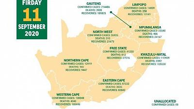 Coronavirus - South Africa: COVID-19 statistics in South Africa (11 September 2020)