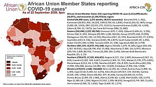 Coronavirus: African Union Member States reporting COVID-19 cases as of 22 September 2020, 6 pm
